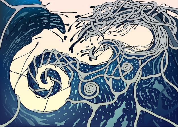 Abstract fantasiepatroon als blauwe overzeese golfspatten over lichte achtergrond