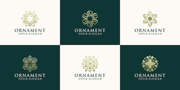 Abstract floral logo ontwerpsjabloon