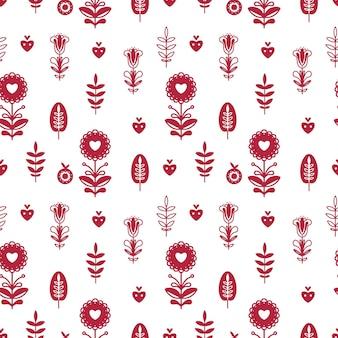 Abstract folk naadloos patroon met hartjes en decoratieve elementen