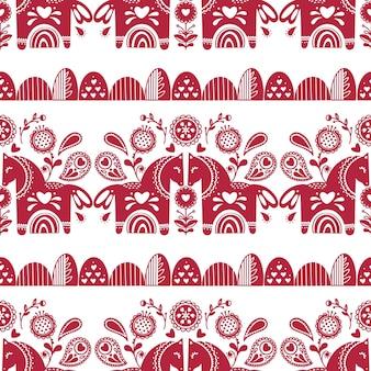 Abstract folk naadloos patroon met hartjes en dieren
