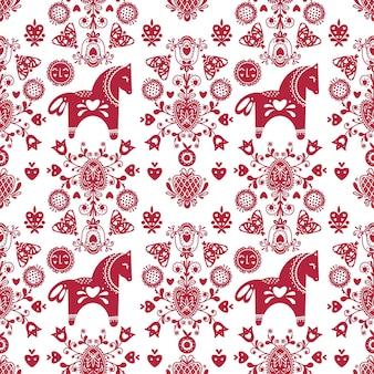 Abstract folk naadloos patroon met hartjes en paarden