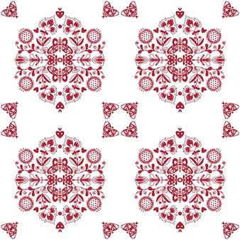 Abstract folk naadloos patroon met hartjes en vlinders