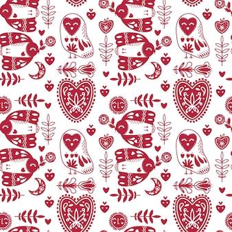 Abstract folk naadloos patroon met hartjes en vogels