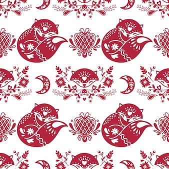 Abstract folk naadloos patroon met hartjes en vossen