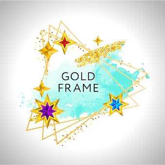 Abstract frame met blauwe aquarel splash en gouden sterren