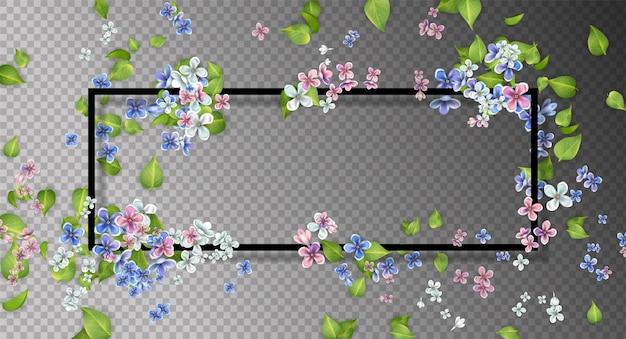 Abstract frame met vliegende bladeren en bloemen