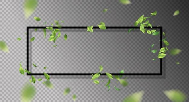 Abstract frame met vliegende bladeren