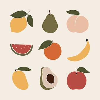 Abstract fruits citroen peer perzik watermeloen sinaasappel banaan mango avocado appel art print elementen