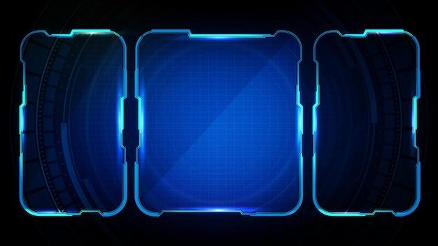 Abstract futuristisch frame van blauwe gloeiende technologie sci fi frame illustratie