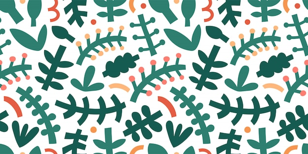 Abstract gebladertepatroon. stoere eigentijdse abstractievormen en krabbels, verschillende bladeren en takken, trendy moderne kunst.