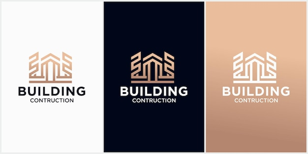 Abstract gebouw logo design architect bouw logo sjabloon architecturaal en constructie
