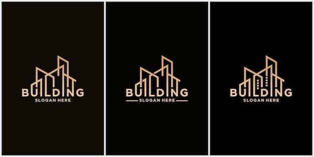 Abstract gebouw woordmerk logo architect bouw logo sjabloon architectonisch ontwerp en nadelen