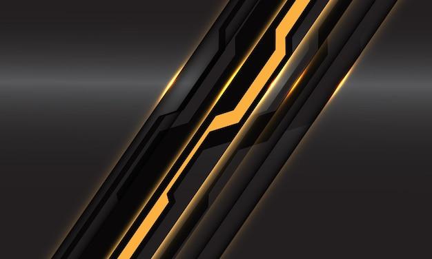 Abstract geel zwart circuit cyber lijn schuine streep op donker metallic ontwerp moderne futuristische technologie
