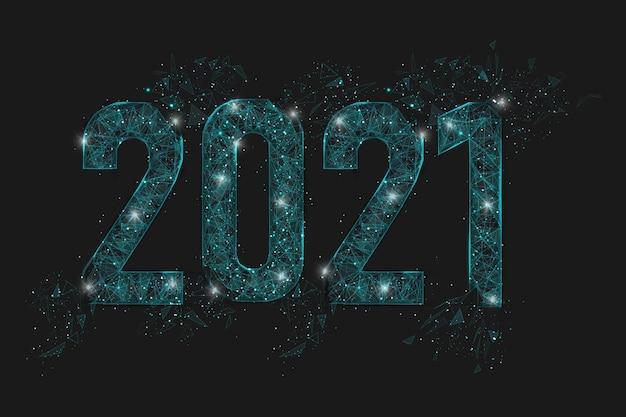Abstract geïsoleerd blauw beeld van nieuw jaarnummer. veelhoekige laag poly draadframe