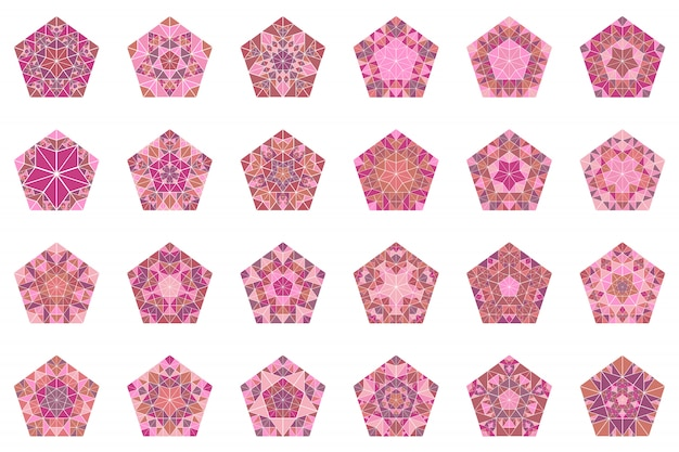 Abstract geïsoleerde betegeld mozaïek pentagon symbool set ingesteld