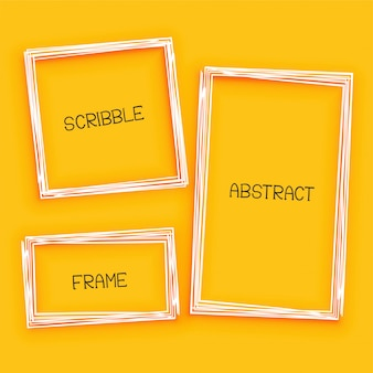 Abstract gekrabbel frame op gele achtergrond