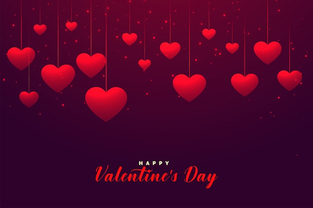 Abstract gelukkig valentijnsdag harten wenskaart ontwerp