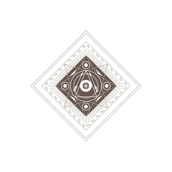 Abstract geometrisch alchemie occult symbool op witte achtergrond