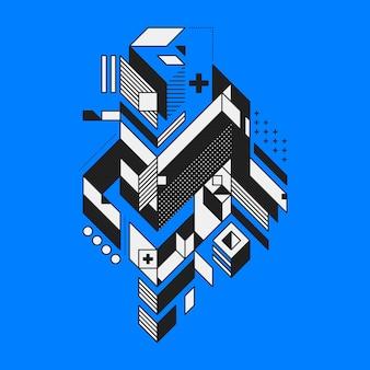 Abstract geometrisch element op blauwe achtergrond. stijl van futurisme en constructivisme. handig als prints of posters.