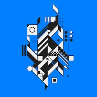 Abstract geometrisch element op blauwe achtergrond. stijl van futurisme en constructivisme. nuttig als afdrukken of posters.