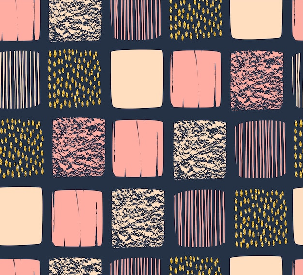 Abstract geometrisch naadloos patroon dat met vierkanten wordt geplaatst.