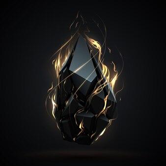 Abstract geometrisch object met vuur