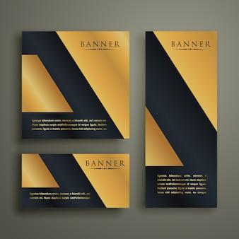 Abstract geometrisch premium gouden bannerontwerp