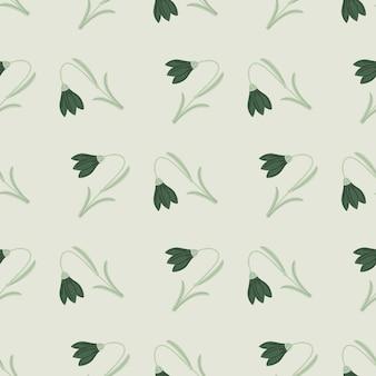 Abstract geometrisch stijl naadloos patroon in de bloemornament van de krabbel groen klok.