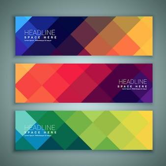 Abstract geometrische vormen banners template set van drie
