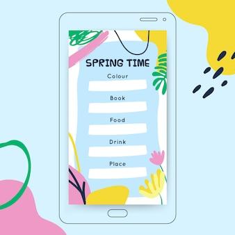 Abstract geschilderd kinderlijk lente instagramverhaal