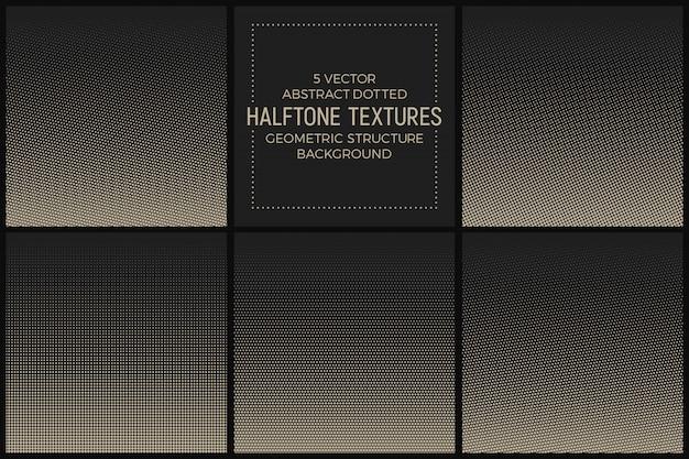 Abstract gestippelde halftoonpatronen vector set