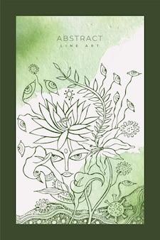 Abstract gezicht met bloem en bladeren lijntekeningen op aquarel achtergrond