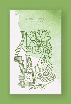 Abstract gezicht met lijntekeningen van bloemen en vogels op aquarelachtergrond