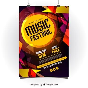 Abstract glanzend posterontwerp voor muziekpartij