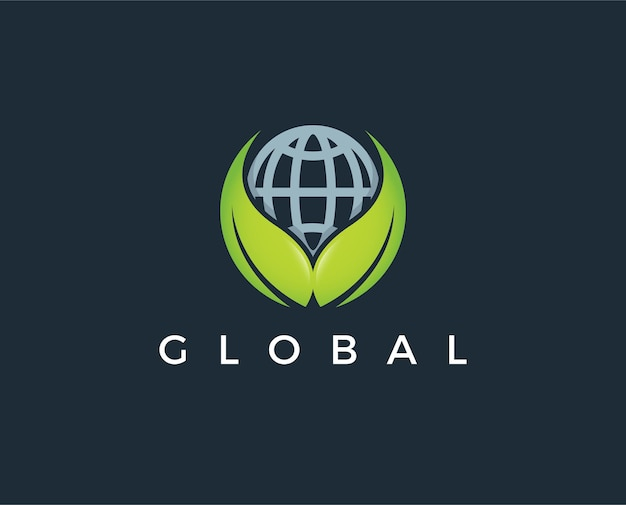 Abstract globe bloem vector logo ontwerp