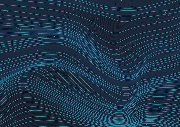 Abstract gloeiend blauw golflijnenpatroon met deeltjeselementen op donkere achtergrond.