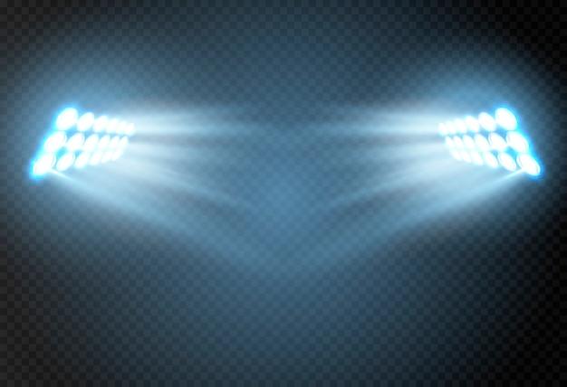 Abstract gloeiend licht van schijnwerper.