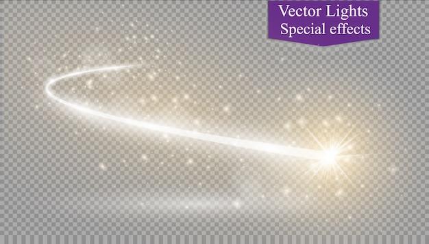 Abstract gloeiend magisch sterlichteffect van het neononscherpte van gebogen lijnen. glinsterende sterren stofspoor vanaf de zijkant. vliegende komeet op een transparante achtergrond.