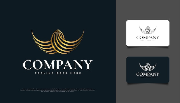 Abstract golden wings-logo-ontwerp met lijnstijl