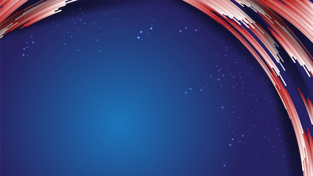 Abstract golf curve gradiënt wit rood tabblad strepen, glitters, op blauw