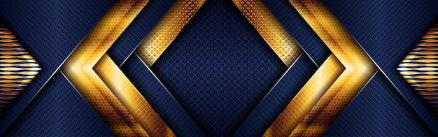 Abstract goud licht veelhoekig op donkerblauwe geometrische achtergrond