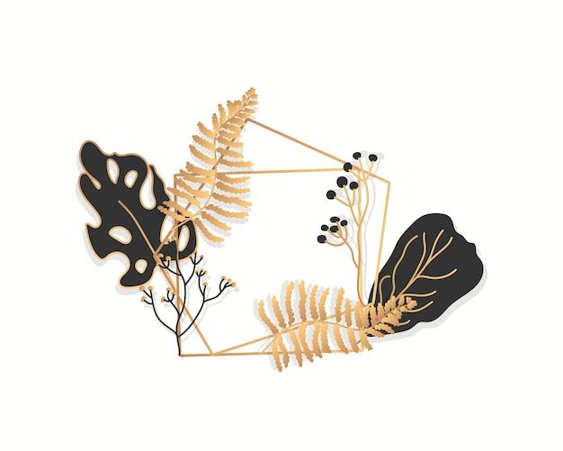 Abstract gouden bloemenkader met exotische tropische bladeren, takken, bessen. luxe decoratieve sjabloon voor tekst. lege moderne veelhoekige geometrische lege banner. veelvlak close-up.