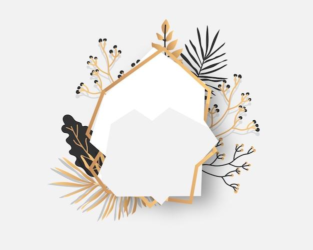 Abstract gouden bloemenkader met exotische tropische bladeren, takken, bessen. luxe decoratieve sjabloon voor tekst. lege moderne veelhoekige geometrische witte banner. veelvlak close-up.