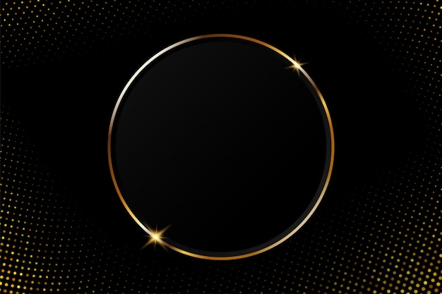 Abstract gouden cirkelkader met fonkelend licht op een moderne zwarte achtergrond