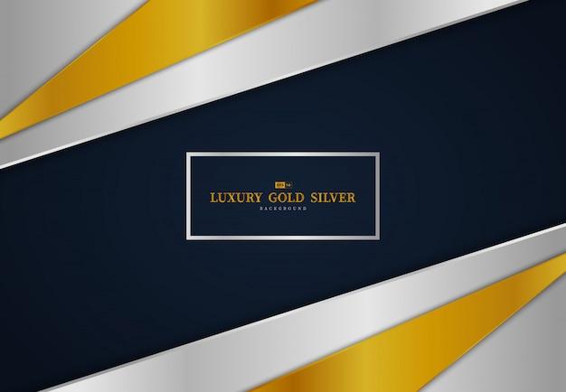 Abstract gouden en zilveren glanzende tech sjabloonontwerp op blauwe achtergrond met kleurovergang.