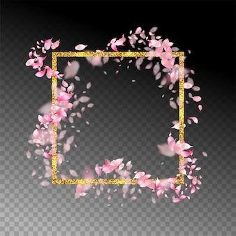 Abstract gouden frame met vliegende bloemblaadjes