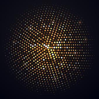 Abstract gouden halftone cirkel geïsoleerd element. disco muziekfeest glanzend