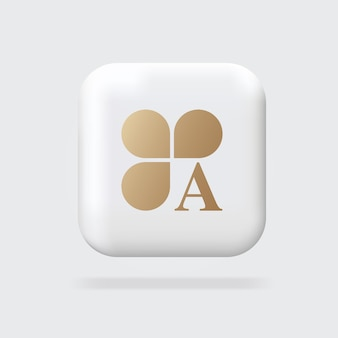 Abstract gouden logo clover-logo met a logo 3d-teken volumetrisch teken webbannertekens