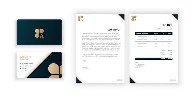 Abstract gouden logo clover-logo met een visitekaartje en blanco moderne minimalistische sjabloon
