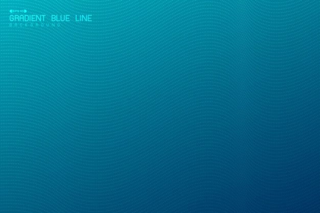 Abstract gradiënt blauw golvend ontwerp van minimale kunstwerkachtergrond met technologie van het puntpatroon. Premium Vector